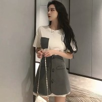 Women's large Summer 2021 White T-shirt + grey skirt white T-shirt grey skirt S M L XL Dress Two piece set commute Self cultivation thin Socket Short sleeve Cheng Biao 18-24 years old Short skirt Other 100% Same model in shopping mall (sold online and offline)