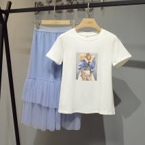 Dress Summer 2021 blue S M L XL Mid length dress Two piece set Short sleeve commute Crew neck High waist Solid color Socket Cake skirt routine 25-29 years old Type A Butterfly footprints Korean version printing More than 95% other other Other 100% Pure e-commerce (online only)