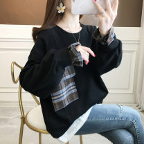 Sweater / sweater Spring 2021 M L XL 2XL Long sleeves Medium length Socket Fake two pieces routine Crew neck easy commute routine lattice 18-24 years old 71% (inclusive) - 80% (inclusive) Sophia Korean version polyester fiber Pocket stitching cotton Cotton liner Pure e-commerce (online only)