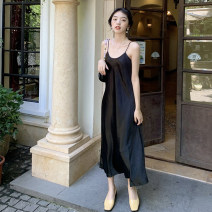 Dress Summer 2020 S M L longuette singleton  Sleeveless commute Loose waist Solid color Socket A-line skirt camisole 25-29 years old Type A Ma Yuge Korean version More than 95% Silk and satin other Other 100% Same model in shopping mall (sold online and offline)