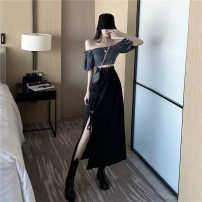 Women's large Autumn 2020 Grey top black skirt S M L XL XXL XXXL Dress Two piece set commute easy thin Socket Short sleeve Solid color Korean version One word collar have cash less than that is registered in the accounts polyester fold puff sleeve Janet (costume) 18-24 years old belt Medium length