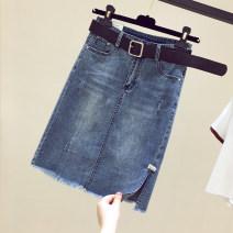 skirt Summer 2021 S,M,L,XL,2XL,3XL blue longuette street High waist Denim skirt Solid color Type A 25-29 years old 30% and below Denim Ocnltiy other
