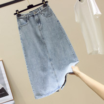 skirt Summer 2021 S,M,L,XL blue longuette commute High waist Denim skirt Solid color Type A More than 95% Denim Ocnltiy other Korean version