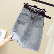 skirt Summer 2021 S,M,L,XL,2XL blue longuette commute High waist A-line skirt Solid color Type A More than 95% Denim Ocnltiy Korean version