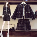 Women's large Summer 2021 Black trousers and black skirt Other oversize styles Two piece set commute easy moderate Cardigan Nine point sleeve lattice Korean version Crew neck routine polyester fiber Three dimensional cutting routine Rongziya 25-29 years old pocket Short skirt other shorts