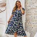 Dress Summer of 2019 Sapphire blue, yellow, real pictures, stealing pictures, original design 4XL,3XL,2XL,1XL Asymmetry P93046