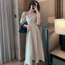 Women's large Summer 2021 Black apricot S M L XL Dress singleton  commute Self cultivation moderate Socket Short sleeve Solid color Retro square neck Medium length Polyester acetate fiber puff sleeve 8621 in stock Si Shangyou Three dimensional decoration 81% (inclusive) - 90% (inclusive) longuette
