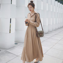 Women's large Autumn 2020 Khaki brick Pink L XL XXL S M Dress singleton  commute easy moderate Socket Long sleeves Solid color Retro Polo collar Medium length Polyester acetate fiber Three dimensional cutting shirt sleeve 31iODhsha Si Shangyou Three dimensional decoration longuette Other 100%