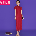 cheongsam Spring 2021 S M L XL 2XL claret Short sleeve long cheongsam ethnic style High slit daily Oblique lapel Decor 18-25 years old QZHY21CQ0479 Temperament and beauty other Other 100% Pure e-commerce (online only)