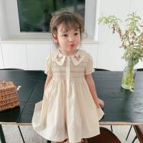 Dress Off white female Other / other 80cm,90cm,100cm,110cm,120cm,130cm,140cm Other 100% summer Korean version Short sleeve Solid color cotton Shirt skirt Class A 2, 3, 4, 5, 6, 7, 8, 9, 10, 11, 12, 13, 14 years old
