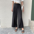 Casual pants black S M L XL Spring 2020 trousers Wide leg pants High waist Versatile routine 18-24 years old 96% and above Keely / Yi · Li Polyester 100%