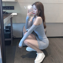 Women's large Autumn 2020 Blue Pink S M L Dress singleton  commute Self cultivation moderate Socket Long sleeves Solid color Korean version Crew neck Three dimensional cutting other Z2528 Xia Qilin 18-24 years old backless Middle-skirt Other 100% other