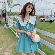 Women's large Summer 2020 S M L Dress singleton  commute easy Cardigan Short sleeve Solid color Retro Polo collar Three dimensional cutting routine A553 Xia Qilin 18-24 years old fungus Short skirt Other 100% Lotus leaf edge
