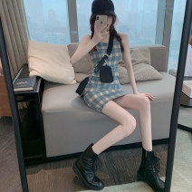 Women's large Summer 2020 Picture color {dress} white {sunscreen shirt} S M L Dress singleton  Sweet Self cultivation moderate Sleeveless lattice Three dimensional cutting H013 Xia Qilin 18-24 years old Short skirt Other 100% Pencil skirt college