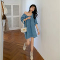 Women's large Summer 2020 blue S M L Dress singleton  commute easy moderate Socket three quarter sleeve Solid color court square neck Denim Three dimensional cutting puff sleeve Z0453 Xia Qilin 18-24 years old Resin fixation 81% (inclusive) - 90% (inclusive) Middle-skirt Other 100% other