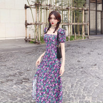 Women's large Spring 2021 Picture color S M L Dress singleton  commute Self cultivation moderate Socket Short sleeve Broken flowers Korean version square neck Three dimensional cutting puff sleeve Xia Qilin 18-24 years old Resin fixation longuette Other 100% other