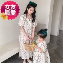 Parent child fashion Off white Women's dress female Other / other 90cm, 100cm, 110cm, 120cm, 130cm, 90cm (size 5), 100cm (size 7), 110cm (size 9), 120cm (size 11), 130cm (size 13), mom's average size M (within 130kg recommended) To be updated summer Korean version Thin money Dot skirt cotton