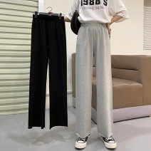 Casual pants Spring and autumn black (Pocket) spring and autumn grey (Pocket) Summer Black (Pocket) summer grey (Pocket) spring and autumn black (foot binding) spring and autumn grey (foot binding) Summer Black (foot binding) summer grey (foot binding) S M L XL Spring 2021 trousers Wide leg pants