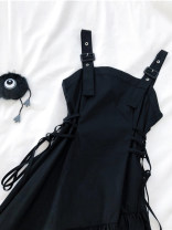 Dress Spring 2021 black S,M,L,XL Mid length dress singleton  Sleeveless commute square neck High waist Solid color Socket A-line skirt other camisole 18-24 years old Type A Other / other Korean version Asymmetry, strap, strap 71% (inclusive) - 80% (inclusive) other polyester fiber
