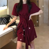 Dress Summer 2020 Red [waist strap] black [waist strap] M L XL 2XL Mid length dress singleton  Short sleeve commute Crew neck High waist Solid color Socket A-line skirt routine Others 18-24 years old Type A Aixunger Korean version Bandage A11 30% and below other Lycra Lycra