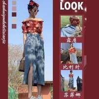 Women's large Summer 2021 Floral Top denim skirt Floral Top + denim skirt S M L XL skirt Two piece set commute moderate Socket Short sleeve One word collar routine 1546431assa Charming Naizi 18-24 years old 81% (inclusive) - 90% (inclusive) longuette Cotton 80% polyester 20%