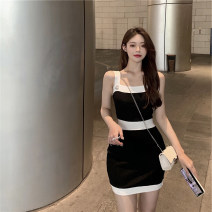 Women's large Summer 2020 black S M L XL Dress singleton  Sweet Self cultivation Socket other fold other 18-24 years old zipper Middle-skirt Polyester 100% Pure e-commerce (online only) other straps solar system