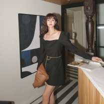 Dress Spring 2021 Black (with chain) S,M,L Short skirt singleton  Long sleeves commute square neck High waist Solid color Socket Big swing puff sleeve Others 18-24 years old Type A Other / other Korean version LYQ20201211003 91% (inclusive) - 95% (inclusive) other polyester fiber