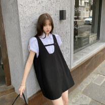 Dress Summer 2020 White shirt, black dress S,M,L Short skirt singleton  Short sleeve commute square neck High waist Solid color Socket A-line skirt routine Others 18-24 years old Type A Other / other Korean version Open back, button 91% (inclusive) - 95% (inclusive) other polyester fiber