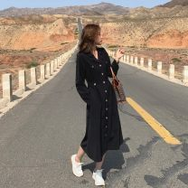 Dress Autumn 2020 Black, check S,M,L Mid length dress singleton  Long sleeves commute tailored collar High waist Solid color Socket Big swing Princess sleeve Others 18-24 years old Type A Other / other Korean version Button LYQ0264 91% (inclusive) - 95% (inclusive) other polyester fiber