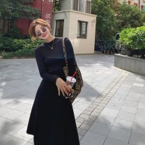 Dress Autumn 2020 Apricot long, apricot short, black long, black short S,M,L Mid length dress singleton  Long sleeves commute Crew neck High waist Solid color Socket A-line skirt routine Others 18-24 years old Type A Other / other Korean version LYQ0306 91% (inclusive) - 95% (inclusive) knitting