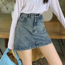skirt Autumn 2020 S,M,L,XL,XXL blue Short skirt commute High waist A-line skirt Solid color Type A 18-24 years old BSQ044 91% (inclusive) - 95% (inclusive) Denim Other / other cotton Pocket, button, zipper Korean version 201g / m ^ 2 (including) - 250G / m ^ 2 (including)