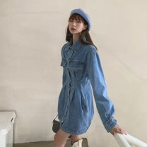 Dress Spring 2021 blue S,M,L Short skirt singleton  Long sleeves commute Polo collar High waist Solid color Single breasted A-line skirt routine Others 18-24 years old Type A Other / other Korean version Button LYQ20201211004 91% (inclusive) - 95% (inclusive) Denim cotton