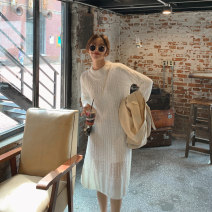 Dress Autumn 2020 Off white (knitted skirt + inner skirt) S,M,L Mid length dress singleton  Long sleeves commute Crew neck High waist Solid color Socket A-line skirt routine Others 18-24 years old Type A Other / other Korean version LYQ0272 91% (inclusive) - 95% (inclusive) knitting acrylic fibres