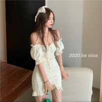 Women's large Summer 2020 Picture color S M L XL Dress singleton  commute Short sleeve Korean version One word collar other other Shangqinmi 18-24 years old 96% and above Short skirt Other 100% Pure e-commerce (online only) other