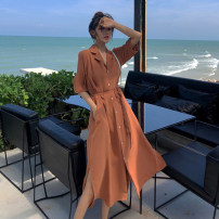 Women's large Summer 2021 Army green, apricot, orange M [80-100 Jin], l [100-115 Jin], XL [115-130 Jin], 2XL [130-150 Jin], 3XL [150-170 Jin], 4XL [170-200 Jin] Dress singleton  commute Socket elbow sleeve Solid color Retro V-neck other routine 25-29 years old 81% (inclusive) - 90% (inclusive)