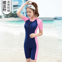 one piece  See description M (80-95 kg) conjoined flat angle, l (95-108 kg) conservative belly covering, XL (108-120 kg) nylon fabric preferred, 2XL (120-130 kg) free try on, 3XL (130-135 kg), 4XL (135-140 kg) One piece flat corner swimsuit With chest pad without steel support female Short sleeve