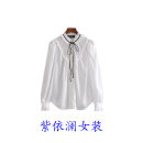shirt white S,M,L Spring 2021 polyester fiber 91% (inclusive) - 95% (inclusive) Long sleeves commute Regular stand collar Single row multi button routine Solid color 25-29 years old Straight cylinder lady bow