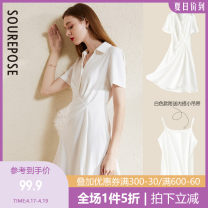 Dress Summer 2020 Black and white S M L XL Mid length dress singleton  Short sleeve commute other High waist Solid color Single breasted A-line skirt routine Others 25-29 years old Type A Apparel (SRE) Simplicity Asymmetry AEQ085 More than 95% polyester fiber Polyester 100%
