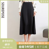 skirt Summer 2020 S M L XL Black blue longuette commute High waist A-line skirt Solid color Type A 25-29 years old AES009 More than 95% SRE polyester fiber zipper Polyester 100% Pure e-commerce (online only)