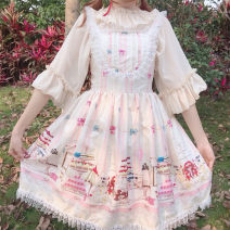 Dress Summer 2021 Pink, Navy Average size Middle-skirt singleton  Sleeveless Sweet other High waist Decor Socket Princess Dress other camisole 18-24 years old Type A printing 81% (inclusive) - 90% (inclusive) other polyester fiber Lolita