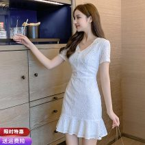Dress Summer 2020 white S M L XL Miniskirt singleton  Short sleeve commute V-neck High waist Solid color zipper Ruffle Skirt routine Others 25-29 years old Type A Pure Benny Korean version Gouhua hollow More than 95% Lace polyester fiber Polyethylene terephthalate (polyester) 100%