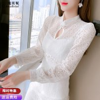 Dress Spring 2021 white S M L XL longuette singleton  Long sleeves commute stand collar High waist Solid color zipper A-line skirt routine Others 25-29 years old Type A Pure Benny Korean version Cut out lace stitching CBN460228 91% (inclusive) - 95% (inclusive) Lace polyester fiber