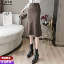 skirt Winter 2020 S M L XL Black Brown Mid length dress commute High waist skirt Solid color Type A 25-29 years old 91% (inclusive) - 95% (inclusive) Wool Pure Benny polyester fiber zipper Korean version Polyethylene terephthalate (polyester) 91% others 9% Pure e-commerce (online only)