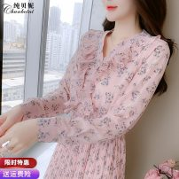 Dress Autumn 2020 Picture color S M L XL longuette singleton  Long sleeves commute V-neck High waist Broken flowers Socket A-line skirt routine Others 25-29 years old Type A Pure Benny Korean version printing CBN020812 91% (inclusive) - 95% (inclusive) Chiffon polyester fiber