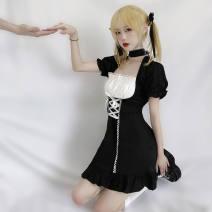 Dress Spring 2021 Black with collar S,M,L Mid length dress singleton  Short sleeve puff sleeve Lace