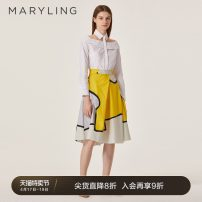 skirt Spring 2021 36/S 38/M 40/L 42/XL Yellow white contrast Middle-skirt commute Natural waist A-line skirt Abstract pattern Type A 25-29 years old A1AD72600- More than 95% MARYLING cotton printing lady Cotton 100% Same model in shopping mall (sold online and offline)