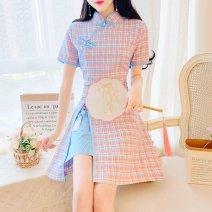 Quick drying T-shirt female Blue, green Other / other 101-200 yuan S,M,L,XL,2XL,3XL Short sleeve U.S.A lattice