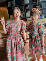 Parent child fashion Peacock blue pink Women's dress female Ciel & Dora / shire and Dora 90cm 100cm 110cm 120cm 130cm 140cm 150cm mother XS mother s mother m mother l CDG2223 summer Korean version Thin money Broken flowers skirt cotton L M S XS CDG2223 Summer 2021 Chinese Mainland