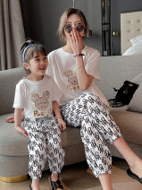Parent child fashion White black Women's dress female Ciel & Dora / shire and Dora 90cm 100cm 110cm 120cm 130cm 140cm 150cm mother XS mother s mother m mother l CDG2226 summer Korean version Thin money printing suit cotton L M S XS CDG2226 Summer 2021 Chinese Mainland