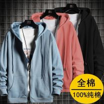 Sweater Youth fashion Others M,L,XL,2XL,3XL,4XL Solid color Cardigan routine spring Straight cylinder leisure time teenagers tide routine Terry cloth Cotton 100% cotton No iron treatment More than 95% Japanese and Korean style zipper